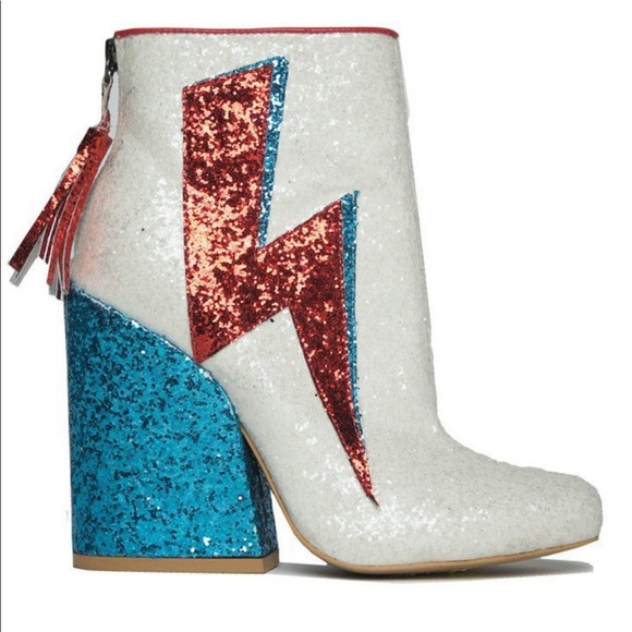 Ziggy white glitter David Bowie Starman boots